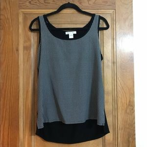 August Silk Black & White Houndstooth Tank Top